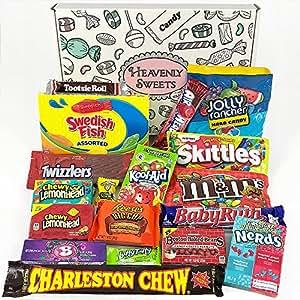 American Candy Geschenkkorb | Retro Süßigkeiten und Schokolade Geschenkkorb | Auswahl beinhaltet Reeses, Skittles, Nerds, Hersheys, M&M's | 19 Produkte in einer tollen retro Geschenkebox