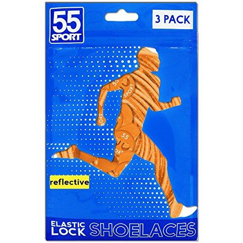 55Sport Lacets élastiques hautement réfléchissants avec système de verrouillage Orange (3 Pack)