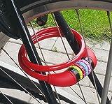 Land-Haus-Shop® Stahlseil Zahlenschloss 65 cm, Fahrradschloss PVC ummantelt Fahrradzahlenschloss, Kinder Fahrrad Zahlen Schloss rot