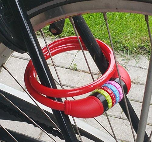 Land-Haus-Shop® Fahrradzahlenschloss 65 cm, Stahlseil ummantelt, Fahrrad Zahlen Schloss Rot