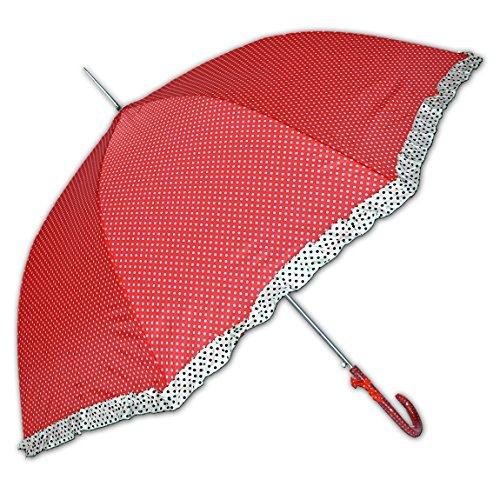 Rockabilly Regenschirm mit Polka Dots und Rüschen (rot)