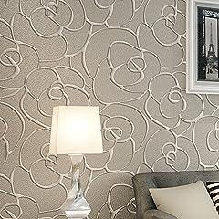 Idea Regalo - Ketian rullo di carta da parati moderna, minimalista con rosa 3D in tessuto non tessuto a rilievo per soggiorno camera da letto Cream&Gray 0.53mx10m=5.3m2