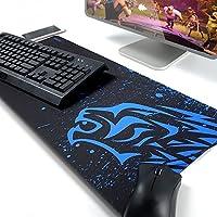 Exco - Alfombrilla gruesa de goma antideslizante para ratón, muy grande, para juegos, con diseños, para jugadores y trabajadores de oficina XL Blue Leopard
