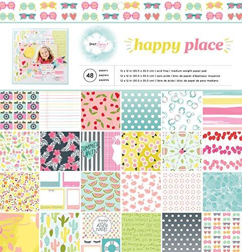 American Crafts Papier Pad 12Zoll x 12Zoll 4Dear Lizzy Happy Place, Acryl, Mehrfarbig -