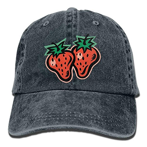 Men Women Strawberry Clip Art Adjustable Jeans Baseball Cap Outdoor Sports Hat