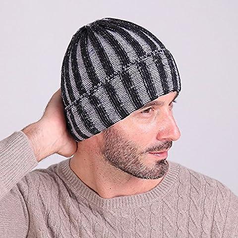 Dos rayas de color gorro de lana otoño/invierno moda para hombres y mujeres fuera cálido knit hat Cap sandía con forma de sombrero de esquí,Heijiabai gris
