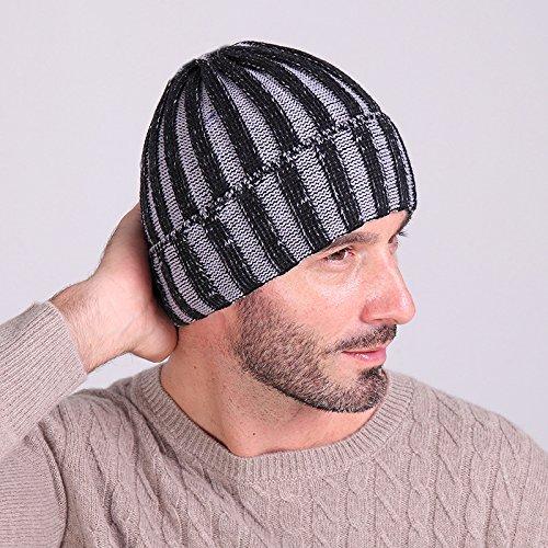 MEICHEN-di due strisce di colore cappello di lana autunno/inverno moda per uomini e donne al di fuori caldo knit hat cappello a forma di anguria ski Hat,Heijiabai grigio