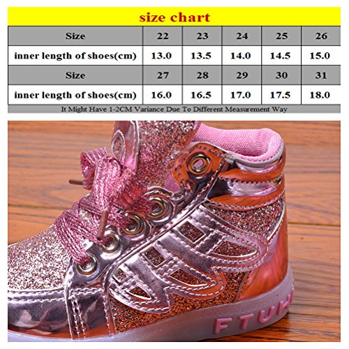 Zhuhaitf Little Big Kids Light Up Trainers Boys Grils Multi-color Sport Breathable Shoes Gold