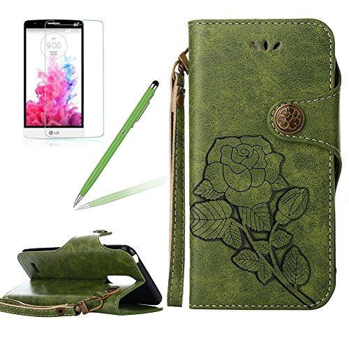 Girlyard Lederhülle für LG K10 2017 Wallet Flip Case, Elegant Blumen Retro Floral Muster Design Schutzhülle mit Lanyard Strap Handyhülle Standfunktion Karteneinschub und Magnetverschluß Etui -- Grün