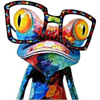DecalMile Karikatur Tier Frosch Mit Brille Drucke Malerei Rahmenlose  Leinwand Drucken Wandkunst Kinderzimmer Haus Dekoration Bereit