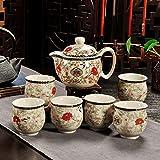 CUPWENH Kaffee Set Keramik Ruhenden Doppel Tasse Tee und Kung Fu Chinesisches Porzellan Teekannen Krüge Home Tea Service, Coffee Set