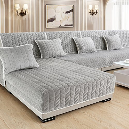 DSAQAO Vier Jahreszeiten universal sofabezug, Anti-Rutsch Wohnzimmer Sofa dämpfung, Plüsch Kopfkissenbezug Volle sofaabdeckung, 1 2 3 4 sitzer zur verfügung-A 110x210cm(43x83inch)