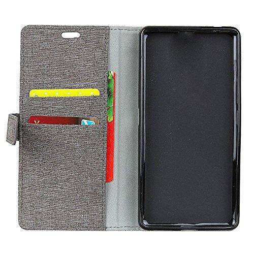 Retro Jeans Stoff Textur Bookstyle Folio Stand Case mit Kartensteckplätzen für Doogee MIX ( Color : Black ) Gray
