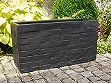Pflanztröge WALL 100x40x50 aus Fiberglas wie orig. Mauergestein in schwarz