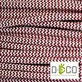 Elektrische Kabel in farbigem Stoff beschichtet. Made in Italy! 10 Meter 2x0, 75 Farbe: Grund Weiß Rot