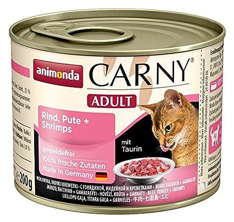 Animonda Katzenfutter Carny Adult Rind, Pute + Shrimps, 6er Pack (6 x 200 g)