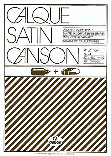 Canson 200757202 - Bloc encolado por el lado corto, papel vegetal satén, A3, 29.7 x 42 cm
