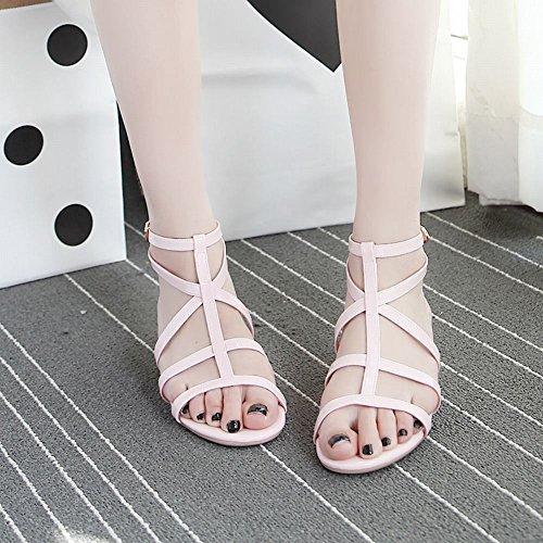 Mee Shoes Damen Niedrig T-Strap Slingback Sandalen Pink