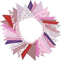 Homiki Doble Lados Floral Tela Banderines Vintage banderas Banner para boda fiesta ceremonia