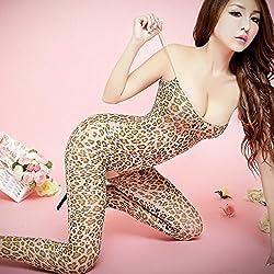 Mkxiaowei Señora Sexy Leopardo Tatuaje Honda Estilo Entrepierna Abierta Pantimedias Sexy Pijamas Calcetines eróticas Medias de Adultos