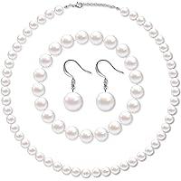 Hicarer Set di Gioielli in Perle Finte Collana di Perle di Conchiglia Simulata Bracciale Elasticizzato con Perline…