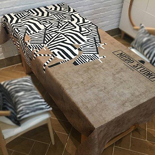 Rechteckige Esstisch Zebra Druck Kaffee Farbe Tischdecken (Size : 140x100cm)