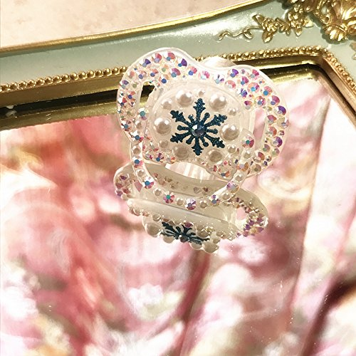 Dollbling Funkelnde Blaue & Weiße Fantasie Traum Schneeflocke Kristall Handarbeit Luxus Säugling Schnuller 0-6 Monat,1PC (Schneeflocke) -