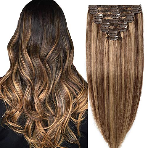 35cm extension capelli veri clip meches doppia tessitura double volume lunga 14