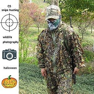 HYFAN Ghillie Costumes 3D Feuilles Woodland Camouflage Vêtements en Plein Air Armée Militaire Camo Vêtements pour la Chasse dans la Jungle, Paintball, Airsoft, Photographie de la Faune, Halloween