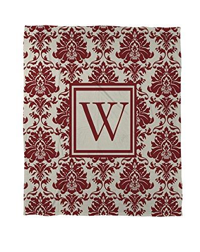 Manuelle holzverarbeiter & Weavers Bettbezug, Queen/Full, Monogramm Buchstabe W, Crimson Damast