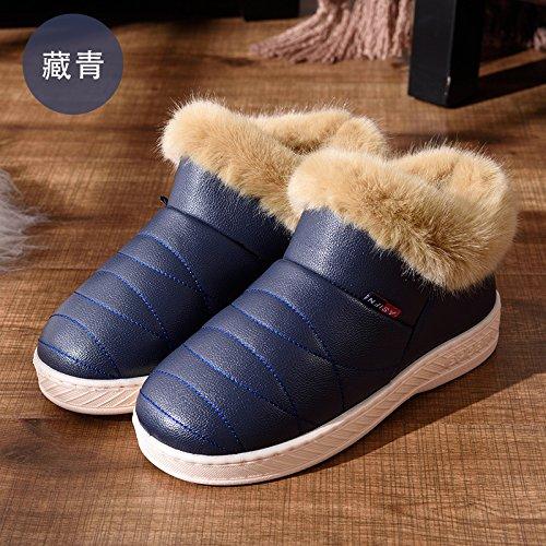 DogHaccd pantofole,Inverno alta aiutare caldo cotone pantofole pacchetto con un paio di uomini e donne home interno più spessa di velluto pu in pelle liscia impermeabile scarpe di cotone Blu scuro1