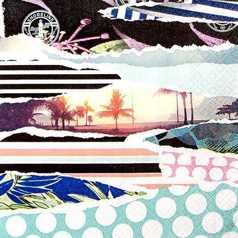 60 Servietten Beach Vibe 33 x 33 cm 3 lagig, Lunch Servietten Napkins Tissues, für den gedeckten Tisch, Party, Fest, Thema, Veranstaltung, Reise (Reisen, Party Thema)