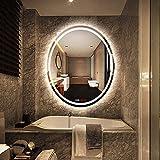 500* 700mm LED beleuchtet Badezimmer Spiegel light, Make Up Spiegel Wand montiert explosionssicher Frisiertisch mit Sensor Touch Schalter + Digital Uhr + Temperaturanzeige + Demister - weißes Licht - Oval
