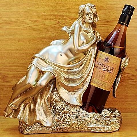 TANGTINFSSVYHRK Casier à vin Résine artisanat beauté de style européen tenant rack bouteille de vin décorative d'ameublement de maison hôtel d'affaires créative fournitures , 22498 gold