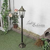 Rustikale Weg Beleuchtung Garten Laterne Schwarz H:38cm IP44 Sockel Lampe Außen