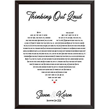 Personalised Song Lyrics Wall Art Print - ED SHEERAN - THINKING OUT LOUD -  The perfect gift idea a for wedding, first dance, love song, anniversary,