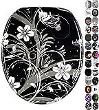 WC Sitz, viele schöne schwarze WC Sitze zur Auswahl, hochwertige und stabile Qualität aus Holz (White Flower)