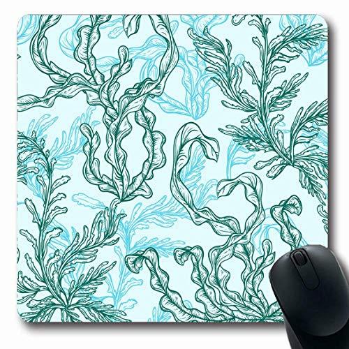 Mauspads für Computer Laminaria Blue Kelp Marine Pflanzen Blätter Algen Vintage Group Algen Natur Grün Aqua Aquarium rutschfeste längliche Gaming-Mausunterlage