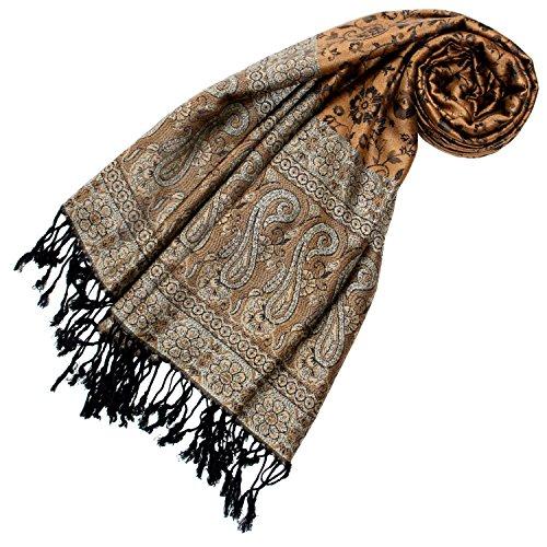Lorenzo Cana Designer Damenschal Pashmina hochwertiger Markenschal jacquard gewebtes Paisley Muster 70 x 180 cm Modal harmonische Farben Schaltuch Schal Tuch 93228