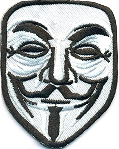 Anonymous Maske Hacker Kostüm Uniform Anarchist Demo Rocker Aufnäher Patch (Anonymous Hacker Kostüm)