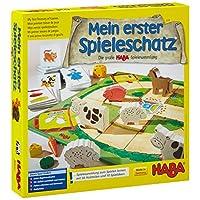 Haba-Mein-erster-Spieleschatz-Die-groe-HABA-Spielesammlung Haba 4278 – Mein erster Spieleschatz Die große Haba-Spielesammlung, 10 unterhaltsame Brett-, Memo- und Kartenspiele ab 3 Jahren in einer Packung, Kindgerechtes Spielmaterial aus Holz -