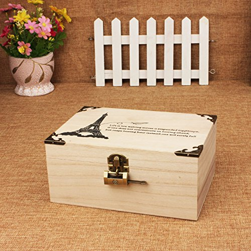 Y&M Sperren Paulownia Box kreativ Schmuck. Antike Lagerung Schatz Box. kleine Box (Lagerung Schmuck Antiken)
