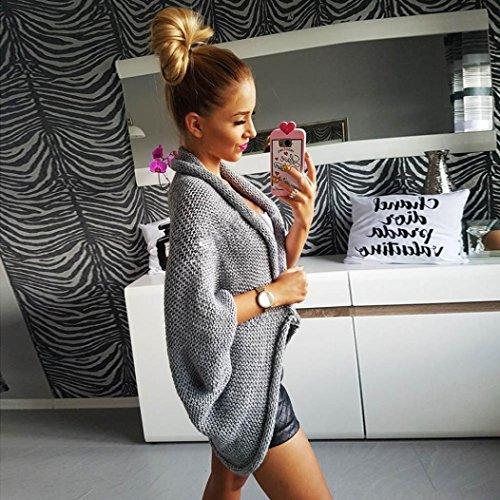 Gilet femme, Kolylong Manteau pull en tricot épais Cardigan Gris