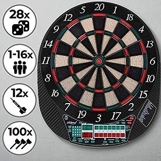 Physionics Elektronische Dartscheibe   28 Spiele, 12 Soft Pfeile und 100 Ersatzspitzen, LED Anzeige   Profi Dartspiel, Dartboard, Dartautomat