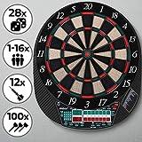 Physionics Elektronische Dartscheibe - 28 Spiele, 12 Soft Pfeile und 100 Ersatzspitzen (für bis zu 16 Spieler) - Profi Dartspiel, Dartboard, Dartautomat