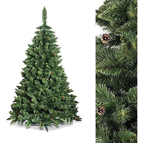 FAIRYTREES Albero di Natale artificiale PINO, Verde naturale, Materiale PVC, vere pigne di abete, incl. supporto in metallo, 220cm, FT03-220