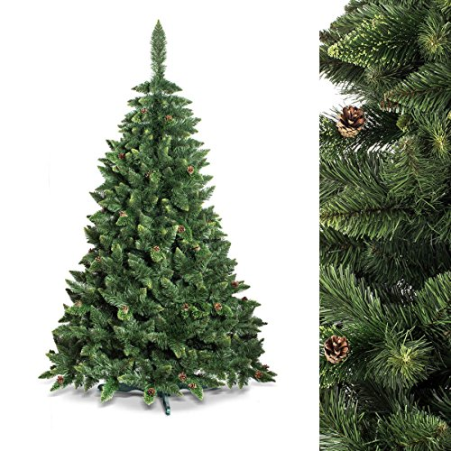 FAIRYTREES Árbol de Navidad artificial modelo PINO, verde natural, material PVC, piñas auténticas, incluye soporte de metal, 220 cm,