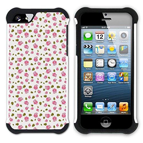 Graphic4You Blume Blumen- Muster Hart + Weiche Kratzfeste Hülle Case Schale Tasche Schutzhülle für Apple iPhone SE / 5 / 5S Design #10