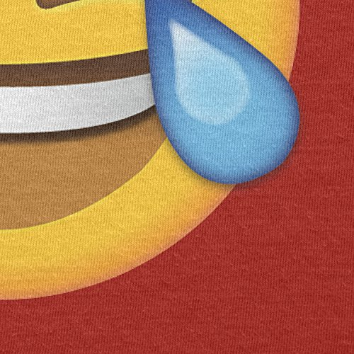 TEXLAB - Tears of Joy Emoji - Herren Langarm T-Shirt Rot