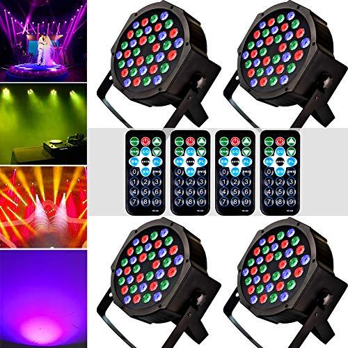 ter RGB 36LEDS Bühne Blitzlicht DJ Lichter Tonaktivierung DMX und Fernbedienung Blitzleuchten Beste für Geburtstagsparty (4 Stück) ()